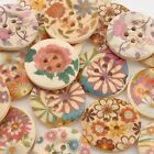 20pcs Colorful Flower Painting Concave Wooden 4 Holes Button Sewing Scrapbooking