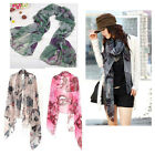New Begonia Color Neck Scarf Shawl Flower Ink Style Long Cotton Wide Wrap