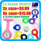 NURSE WATCH FOB SILICONE POCKET WATCH QUARTZ+9 COLOUR CASE & BROOCH PINS