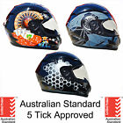 NEW FULL FACE MOTORCYCLE HELMET ADULT SIZES S, M, L, XL 5 tick approved FULL