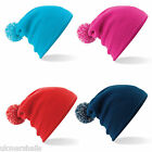 Beechfield Snowstar Kids Beanie Hat Winter Bobble Cap Beany 5 Colours B450B