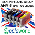 [ANY 5] CLI551 & PGI550 CHIPPED Ink carts compatible with CANON PIXMA printers
