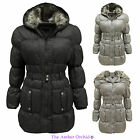 LADIES FUR HOODED PUFFER WOMENS QUILTED PADDED BELTED PARKA JACKET WINTER COAT