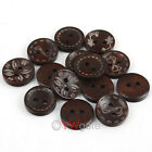 Mixed Lots Deep Coffee 2 Holes Wood Sewing Buttons Scrapbooking Pick Size
