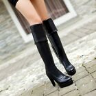 Women's Platform Solid Pull On High Heel Over Knee High Thigh Boots Party Shoes