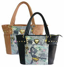 Ladies Anna Smith Vogue Magazine Print Satchel Studs Bag Women Shoulder Handbag
