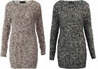 New Womens Xmas Winter Warm Brown Black Soft Fluffy Chunky Knitwear Long Jumper