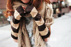 WOMENS GLOVES LONG FINGERLESS ARM WARMERS WINTER FASHION XMAS GIFT GIRLS