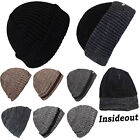 Mens Thin Isulated Knitted Woolly Chunky Thermal Beanie Outdoor Winter Ski Hat