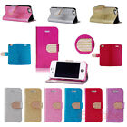 New Diamond Bling Flip Wallet Stand Leather Case Cover Skin For iPhone 5 5G 5S