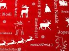 XMAS GREETINGS RED VINYL PVC OILCLOTH WIPE CLEAN TABLECLOTH CO click for sizes
