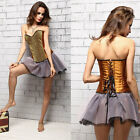 Sexy Satin Vintage  Lace Up Corset Bustier Plastic Boned Body Shaper Top + Thong