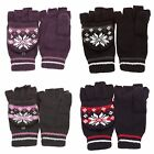 (Free PnP) Ladies/Womens Patterned Capped Fingerless Winter Gloves Warm