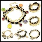 Assorted Styles Black Leather Gold Plated Lovely Gold Charm Bead Bracelet