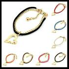 New Fashion Assorted Colors Leather Gold Plated Charms Heart Style Bracelet