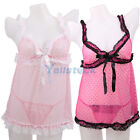 Hot Women's Sexy Lingerie Young Girl Sleeping Dress with T-Back Pink Red 6165