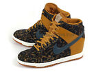 Nike Wmns Dunk Sky Hi PRM Wedges Sneakers Gold Suede/Dark Armory Blue 585560-700