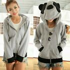 New Lovely Zip-up Panda Ears Women Hoodie Outwear Kigurumi Sweat Sweatshirt Tops