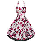New Hearts & Roses Pink Rose Floral Long Dress. Retro Rockabilly Swing 50s