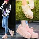 Fashion Floral Womens Flat Platform Wedge Lace Up Ankle Boots Creeper Shoes Pump