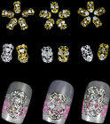 5pc Silver Gold Hollow Metal Charm Zircon Rhinestone 3D Alloy Nail Art Tip Decal