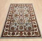 Large Oriental Agra Rugs In Light Blue, Handmade Wool Traditional 240x340cm