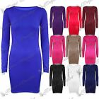 Womens Ladies Plain Basic Long Sleeves Jersey Stretchy Bodycon Dress Long Top
