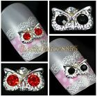 10pcs 6x9mm Silver Plate 3D Rhinestone Metal Alloy Chunky Owl Nail Art Tip Decal