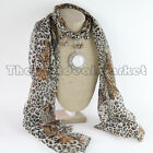 New 2014 Pendant Scarf Animal Print Jewelry Leopard Shawl Necklace Resin Stone