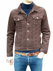 Men New Jacket Coat Brown Corduroy Denim Short Indie Mod Retro Vtg Cord S-XL
