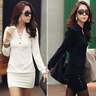 Simple Elegant Womens Solid Mini Dress Long Sleeve APLE  Slim Fitted 3 Size
