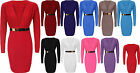 Womens Ladies Plunged V Neck Long Sleeve Gold Buckle Belted Bodycon Party Dress