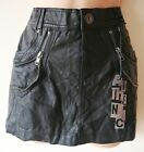 NEW WOMENS BLACK FAUX LEATHER DISTRESSED MINI SKIRT SIZE 8 10 12 14 16 LADIES