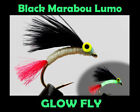 BLACK MARABOU LUMO Glow Fly TROUT FLIES for fly fishing rod reel & line