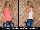 16659 sexy Stretch Longtop Tanktop Spitze Shirt 36/38 Weiß Neon Rosa M/L