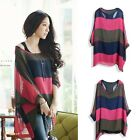 Ladies/Womens Batwing Joint Chiffon Hoody W/Vest Two Pieces Blouse Shirt Tops