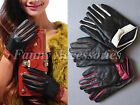 Two Tone Genuine Leather Lamb Skin Nappa Driving Evening Gloves Bow Trim