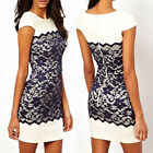 HOT Lady Dark Blue Floral Lace Short Sleeve Slim Women Bodycon Party Mini Dress