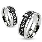 Mens/Womens/Couples Stainless Steel Black Tribal Swirl Band Ring Size 5-13(2996)