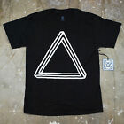 Mens Black Optical Illusion Triangle Pyramid Urban Hipster Graphic T Shirt New