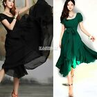 Womens Maxi Chic Chiffon Vintage Long Ball Party Casual Irregular Evening Dress