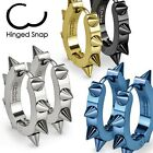 New Mens/Womens Spiked 316L Stainless Steel Huggie Earrings,Choose Color (SS026)