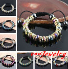 Faceted Crystal Glass AB Color Rhinestone Spacer Bead Woven Bracelet Macrame