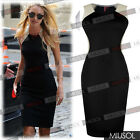 Ladies Sexy Cocktail Party Optical Illusion Contrast Bodycon Dresses Size 6-18