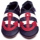 Inch Blue Boys Baby Luxury Leather Soft Sole Pram Shoes - Sailor Navy Blue & Red