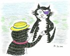Blank greeting card Clawed greets Bullpuss Louisa's Ginger Nuts Peter Brighouse