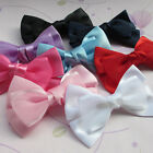E232 Big Organza Satin Ribbon Bows Flowers Sewing Appliques 100x70mm 10/50pcs
