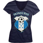 Honduras World Cup Soccer Flag Crest Honduran Pride Girls Junior V-Neck T-Shirt