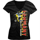 Germany Play Hard World Cup 2014 Soccer Player Girls Junior V-Neck T-Shirt