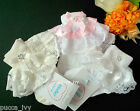 NEW Baby Young Girls Diamante Bow Frilly Lace Socks Wedding Christening Party